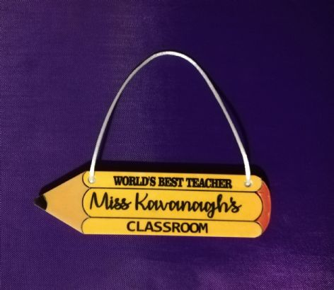 Personalised Pencil Teacher Name Acrylic Plaque